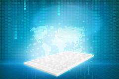 Tablet with projection map Royalty Free Stock Images