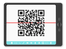 Tablet with QR code Stock Images