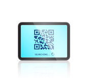 Tablet with QR code on Touch Screen Stock Photo