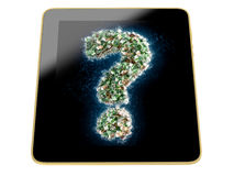 Tablet with Question mark ? made from Euro bills Royalty Free Stock Photos