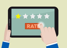 Tablet rating one star Royalty Free Stock Photo