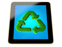 Tablet with recycle sign made from grass. Isolated on white background Vector Illustration