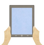 Tablet     with   recycled paper craft stick Royalty Free Stock Photography