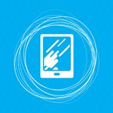Tablet with the reflection of light icon on a blue background abstract circles around and place for your text. Tablet with the reflection of light icon on a stock illustration