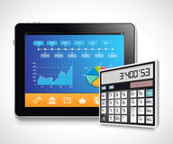 Tablet - report. Concept, business cost calculation Stock Photo