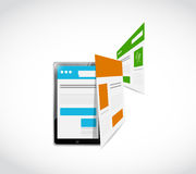 Tablet responsive concept and pages illustration Stock Images