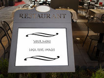 Tablet for restaurant with the menu Royalty Free Stock Photo