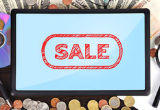 Tablet with sale Royalty Free Stock Image