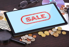Tablet with sale Royalty Free Stock Photography