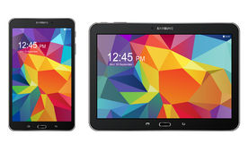 Tablet Samsung galaxy Tab S. With color background on screen illustration Stock Images