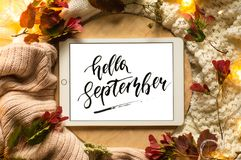 The tablet says the word hello September with red leaves and a dais on the wooden background. Concept of the autumn. royalty free stock photo
