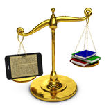 Tablet on  scales Royalty Free Stock Photos
