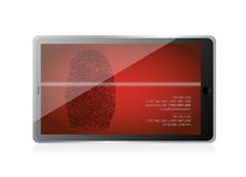 Tablet scanning a finger print illustration. Design over white Royalty Free Stock Photography