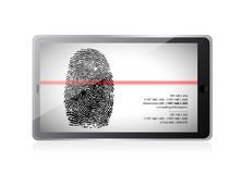 Tablet scanning a finger print illustration design. Over white Stock Photo