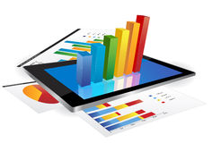 Tablet with 3d graph. Tablet screen with 3d graph and a paper with statistic charts Royalty Free Stock Photos