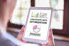 Conversion rate optimization concept on a tablet. Tablet screen displaying a conversion rate optimization concept royalty free stock photography