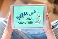 Dna analysis concept on a tablet. Tablet screen displaying a dna analysis concept royalty free stock photography