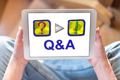 Q&a concept on a tablet. Tablet screen displaying a q&a concept royalty free stock photography