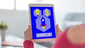 Start up concept on a tablet