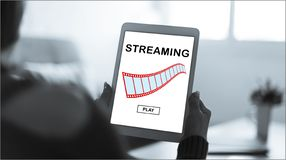 Video streaming concept on a tablet royalty free stock images