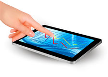 Tablet screen with graph and a hand Royalty Free Stock Photography