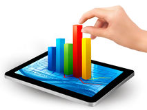 Tablet screen with graph and a hand Stock Photography