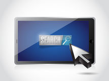 Tablet search button and cursor Royalty Free Stock Images