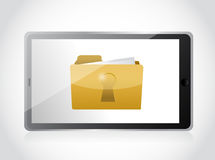 Tablet and secured folder illustration design Royalty Free Stock Photo