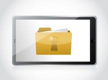 Tablet and secured folder illustration design Royalty Free Stock Photo