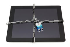 Tablet  security concept with padlock and locked  tablet Royalty Free Stock Images