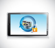 Tablet and server security concept illustration Royalty Free Stock Images