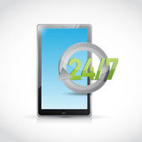 Tablet 24 7 service illustration design Royalty Free Stock Photo