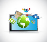 Tablet and set of apps illustration design Stock Photo