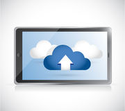 Tablet and set of clouds. illustration design Royalty Free Stock Photo