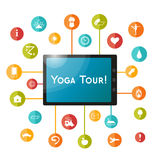 Tablet and set of flat icons for yoga poster, yoga site. Vector yoga icons. Royalty Free Stock Photos