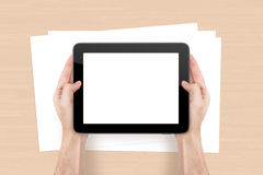 Tablet and Sheet on Office Table Stock Images