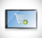 Tablet with a shopping cart button. online Stock Photos