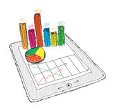 Tablet showing a spreadsheet with  charts Stock Images
