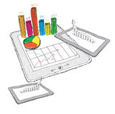 tablet showing a spreadsheet with  charts Royalty Free Stock Photography