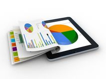 Tablet showing a spreadsheet and a paper with statistic charts,. Surrounded by some  charts Royalty Free Stock Photos