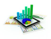 Tablet showing a spreadsheet and a paper with statistic charts. Surrounded by some 3d charts Stock Image