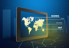 Tablet showing a world map Stock Photography