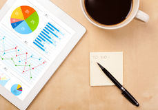 Tablet shows charts on screen with a cup of coffee Royalty Free Stock Images