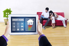 Tablet with smart house technology system Royalty Free Stock Photography
