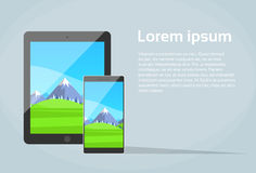 Tablet Smart Phone Responsive Design App Screen Stock Photo