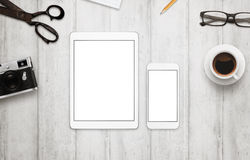 Tablet and smart phone with  white screen for mockup Stock Images
