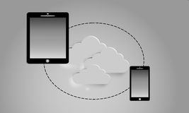 Tablet and  smartphone with a blank screen. Cloud service Stock Photo