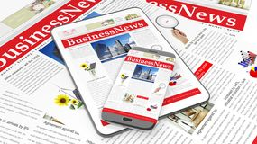 Tablet and smartphone with Business News website Royalty Free Stock Photos