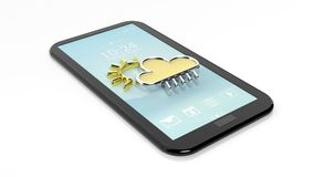 Tablet / smartphone with cloud and sun symbols,  on white Royalty Free Stock Images