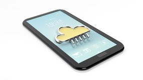 Tablet / smartphone with cloud symbol Royalty Free Stock Images
